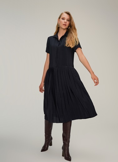 NGSTYLE Piliseli Gömlek Elbise Siyah
